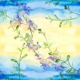 Blommor - dekorativ sammansättning vattenfärg seamless modell Använd utskrivavna material, tecken, objekt, websites, översikter,  stock illustrationer