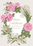 Blommor Elegant ram med blommor Tappningvektorillustration Klassiskt kort Royaltyfria Foton