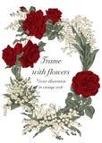Blommor Elegant ram med blommor Tappningvektorillustration Klassiskt kort Royaltyfri Fotografi