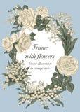 Blommor Elegant ram med blommor Tappningvektorillustration Klassiskt kort Arkivfoton