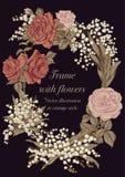 Blommor Elegant ram med blommor Tappningvektorillustration Klassiskt kort Royaltyfria Bilder