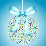 blommor för blå bow för boll färgrika stock illustrationer