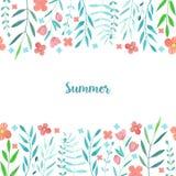 Blommor för enkel sommar för vattenfärg card röda och blåttfilialer mallen royaltyfri illustrationer