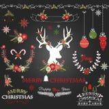 Blommor för glad jul för svart tavla Hjortar lantlig jul krans, julsamlingar vektor illustrationer