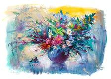 Blommor för olje- målning Royaltyfri Bild