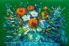 Blommor för olje- målning ro Arkivbild