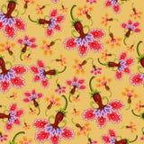 Blommor för sömlös modell för vektor färgrika. Arkivbild