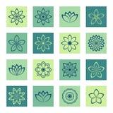 Blommor för symbolsuppsättningöversikt på separata kulöra fyrkantiga bakgrunder Royaltyfria Foton