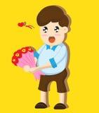 Blommor för tecknad filmpojkegåva Royaltyfri Foto