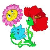 Blommor för tecknad filmtecken Skraj blommor Royaltyfria Bilder