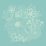 Blommor för vitabstrakt begreppkontur Royaltyfri Fotografi
