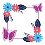 Blommor förser med märke garnering vektor illustrationer