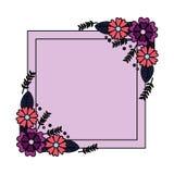 Blommor f?rser med m?rke garnering stock illustrationer