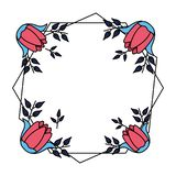 Blommor f?rser med m?rke garnering royaltyfri illustrationer