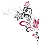 Blommor fjäril som är blom- Royaltyfria Bilder
