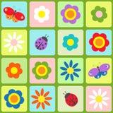 Blommor, fjärilar och nyckelpigor Arkivbilder