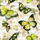 Blommor fjärilar, räcker anmärkningen för skriftlig text vattenfärg mönstrad seamless tappning Royaltyfri Foto