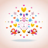 Blommor, hjärtor & fågelillustration Arkivfoto