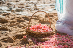 Blommor i en korg på sanden Royaltyfri Foto