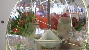 Blommor i en roterande skyltfönster stock video