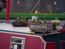 Blommor i en träask på däck av ett smalt fartyg för kanal/husfartyget royaltyfri bild