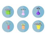 Blommor i en vasuppsättning Härlig illustration vektor illustrationer