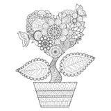 Blommor i hjärtaform på en krukalinje konst planlägger för färgläggningboken för vuxna människan, tatueringen, T-tröjadiagrammet, Royaltyfri Foto