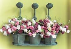 Blommor i metall som bevattnar canen, tappningstil Royaltyfria Foton