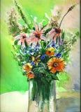 Blommor i vas 2 vektor illustrationer