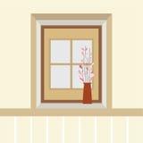 Blommor i vas på fönsterbrädan Royaltyfri Fotografi