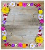Blommor inramar på trä Royaltyfri Bild