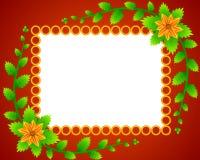blommor inramniner guld- cirklar Royaltyfri Bild