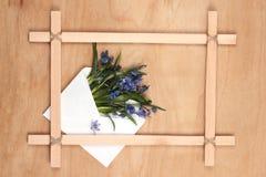 blommor inramniner trä Royaltyfri Fotografi