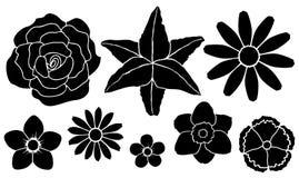 blommor inställda silhouettes Royaltyfri Illustrationer