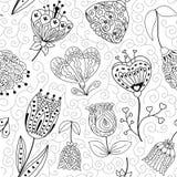 Blommor klottrar den sömlösa modellen också vektor för coreldrawillustration Royaltyfri Illustrationer