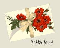 Blommor, kuvert och band Tappningvektorillustration bostonian yellow för modell för hjärta för blommor för fjärilsdroppe blom- royaltyfri illustrationer