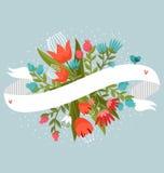Blommor med bandet Arkivfoto