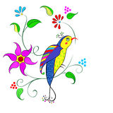 Blommor med fågeln Royaltyfria Bilder