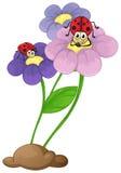 Blommor med nyckelpigor stock illustrationer