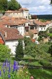 Blommor mot charmig by i söder av Frankrike arkivfoto