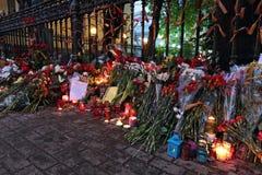 Blommor nära ambassaden av Ukraina Arkivfoto