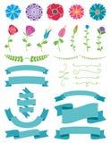 Blommor och banddesignbeståndsdelar Royaltyfri Bild