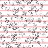 Blommor och fåglar för svartvit hand utdragna på sömlös modell för rosa bandbakgrund royaltyfri illustrationer