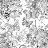 Blommor och fjärilar Royaltyfri Fotografi