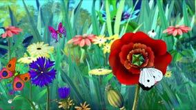 Blommor och fjärilar royaltyfri illustrationer