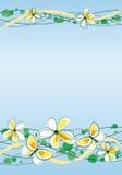 Blommor och fjärilar på blå bakgrund Fotografering för Bildbyråer