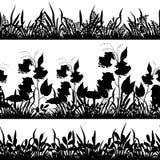 Blommor och gräskontur, sömlös uppsättning Arkivbilder