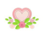 Blommor och hjärtor för vektor pappers- Arkivfoton