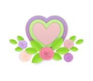 Blommor och hjärtor för vektor pappers- Arkivbild