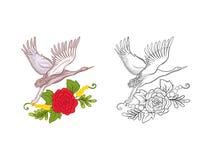 Blommor och kran Uppsättning av den kulöra prövkopia- och översiktsteckningen vektor illustrationer